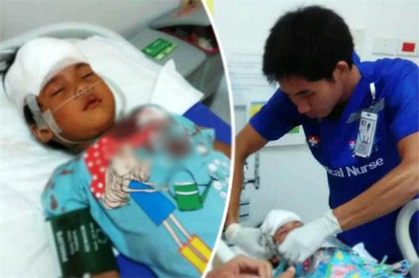 Oum Phoeykiln được đưa đến bệnh viện ngay lập tức vì vết rách quá sâu.