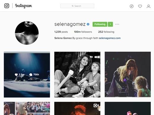 Tài khoản Instagram củaSelena Gomez đãchạm mốc 100 triệu lượt theo dõi.