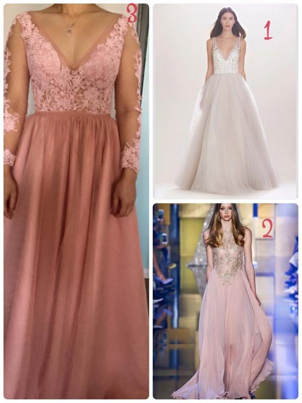 Với ý tưởng ban đầu, cô dâu Việt ở Úcmuốn chiếc váy cưới của mình thiết kế theo mẫu số 1 và lấy màu vải số 2. Cuối cùng cô nhận được sản phẩm số 3.