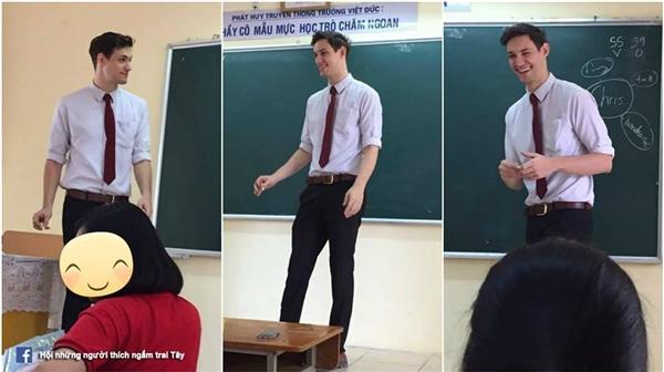 Nhữnghình ảnh về một thầy giáo với nụ cười tỏa nắng, bảnh bao trong áo sơmi trắng đã khiến bao trái tim loạn nhịp.