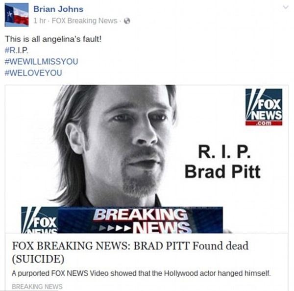 Bảng tin giả mạo trang tin FOX News được đăng trên Facebook. (Ảnh: internet)