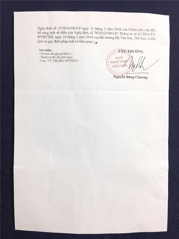 Giấy phépcủa Cục nghệ thuật Biểu diễn đồng ý cho Bảo Như tham gia Hoa hậu Liên lục Địa 2016.