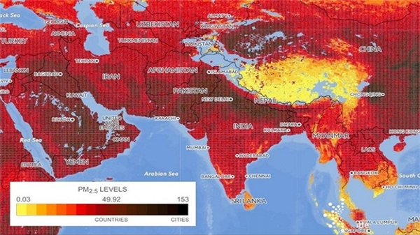 Từ bản đồ minh họa chất lượng không khí tại châu Áthể hiện qua chỉ số PM 2,5 cho thấy khu vựcĐông Nam Á và phía Tây Thái Bình Dương có mức độ ô nhiễm không khí đặc biệt cao.(Nguồn ảnh: ĐH Yale)