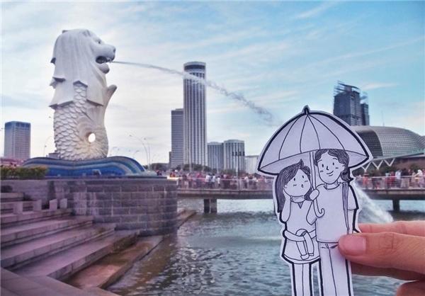 Dạo bước tình cảm bên nhau tại công viên Merlion, Singapore.