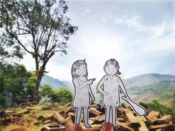Hóa thân thổ dân đầy hài hước ở Gunung Padang Megalithic Site.