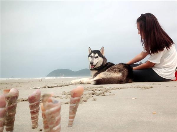 Yến cho biết, Bun thích nghịch nước nên rất mê biển. Trong các chuyến đi đồng hành cùng nhau thì chú chó hào hứng nhất khi được cùng Yến đi đảo Ngọc Vừng (Quảng Ninh), dịp này cũng là lúc mừng sinh nhật Bun tròn 1 tuổi.
