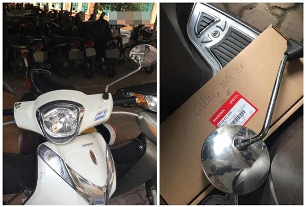 Chiếc xe bị gãy gương và chiếc hộp đụng gương mới cùng đôi dòng xin lỗi. (Ảnh: BEAT)