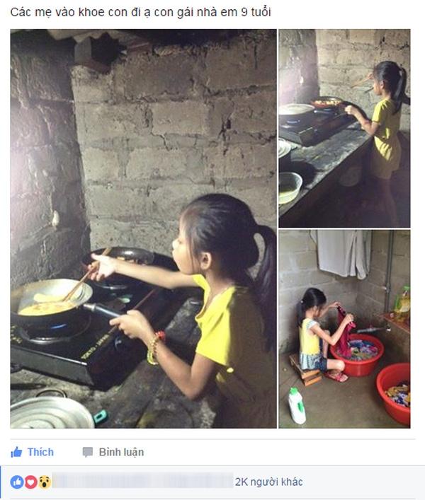 Màn khoe con gái nhỏ tuổi biết cơm nước giặt giũ như cô Tấm đang khiến chị em phát sốt.
