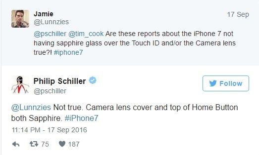 Khẳng định củaGiám đốc tiếp thịPhil Schiller trên Twitter. (Ảnh: internet)