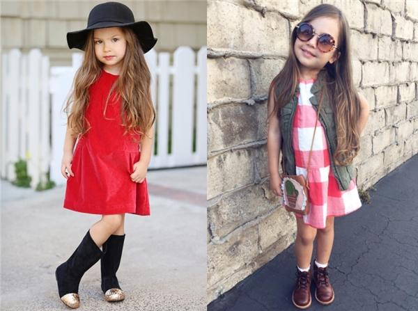 Atalie Lopez, cô bé gây sốt trênInstagram với nụ cười tỏa nắng và phong cách thời trang nữ tính, nhẹ nhàng.