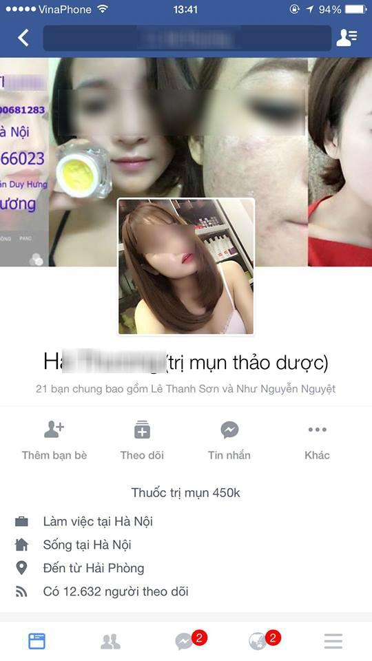 Trang facebook của H. T bị cô gái trẻ H. O vạch trần khi buôn bán mỹ phẩm giả.