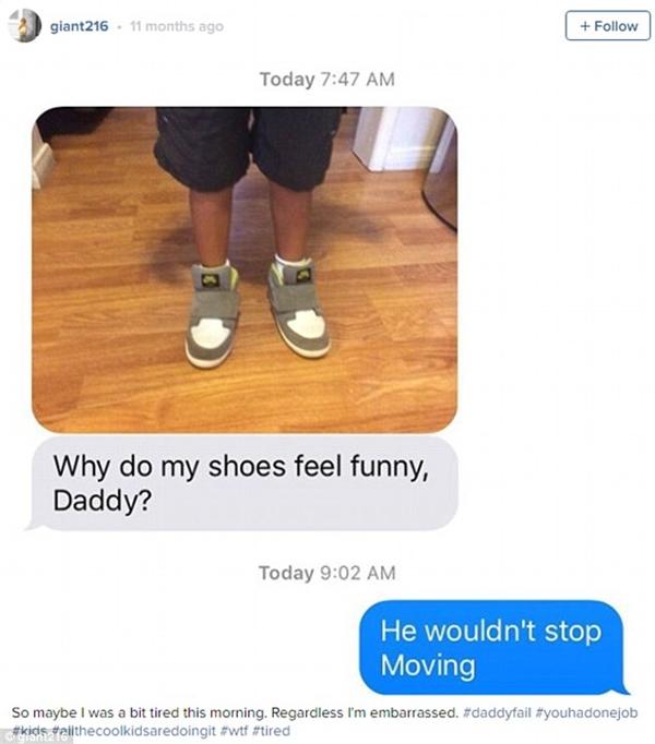 """""""Chắc tại sáng nay bố mệt quá nên đã đi giày trái cho con. Bố cũng xấu hổ lắm chứ bộ""""."""