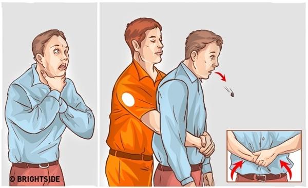 Học cách sơ cứu người bị hóc dị vật: Đây là điều mà ai cũng nên học lấy để cứu người hoặc tự cứu chính mình. Đầu tiên đứng phía sau lưng người bị ngạt, vòng hai cánh tay ra đằng trước người họ, nắm một bàn tay lại thành nắm đấm rồi đặt vào vị trí cơ hoành, ngay phía trên rốn. Bàn tay còn lại nắm chặt lấy nắm đấm, sau đó dùng lực giật thật mạnh vào khung sườn, lực hướng vào bên trong và lên trên. Lặp đi lặp lại động tác giật này cho đến khi họ phun ra vật thể bị mắc kẹt trong họng.
