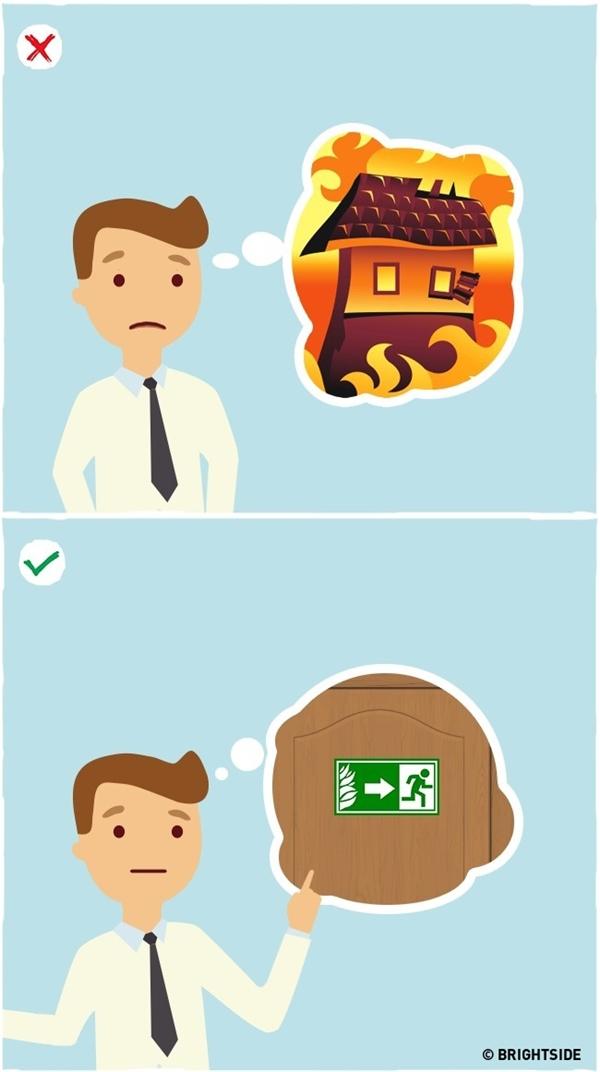 Luôn nghiên cứu kĩ vị trí của cửa thoát hiểm sau khi đặt chân vào một tòa nhà: Trong những tình huống nguy cấp như hỏa hoạn, động đất, sập nhà… bạn không còn cách nào khác là phải tìm cách thoát thân. Đó là lí do vì sao bạn luôn phải biết chính xác cửa thoát hiểm nằm ở vị trí nào ngay từ khi bước vào tòa nhà chứ không phải đợi đến khi có nguy hiểm xảy ra mới chạy đi tìm.