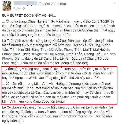 Một người bạn Lê Công Tuấn Anh cho biết Minh Anh đã bay từ Singapore về để dự lễ giỗ 20 năm của nam diễn viên. - Tin sao Viet - Tin tuc sao Viet - Scandal sao Viet - Tin tuc cua Sao - Tin cua Sao