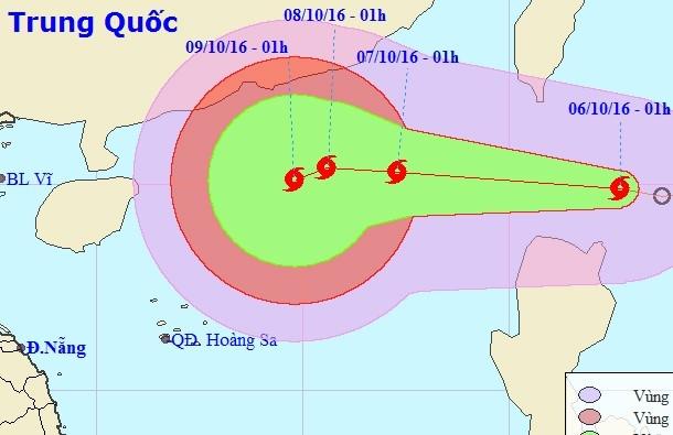 Vị trí và hướng di chuyển của cơn bãoAere.Ảnh: Trung tâm dự báo khí tượng thủy văn Trung ương.