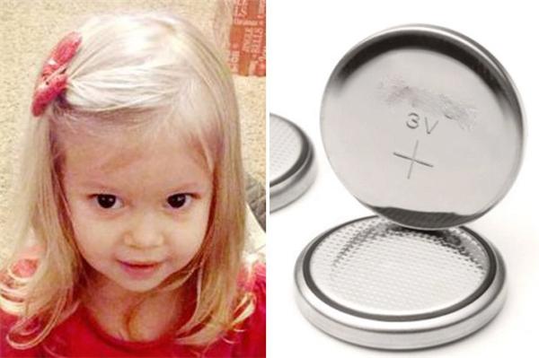 """Bé Brianna Florer 2 tuổi ở Mỹcũng là nạn nhân của """"sát thủ"""" pin cúc áo."""