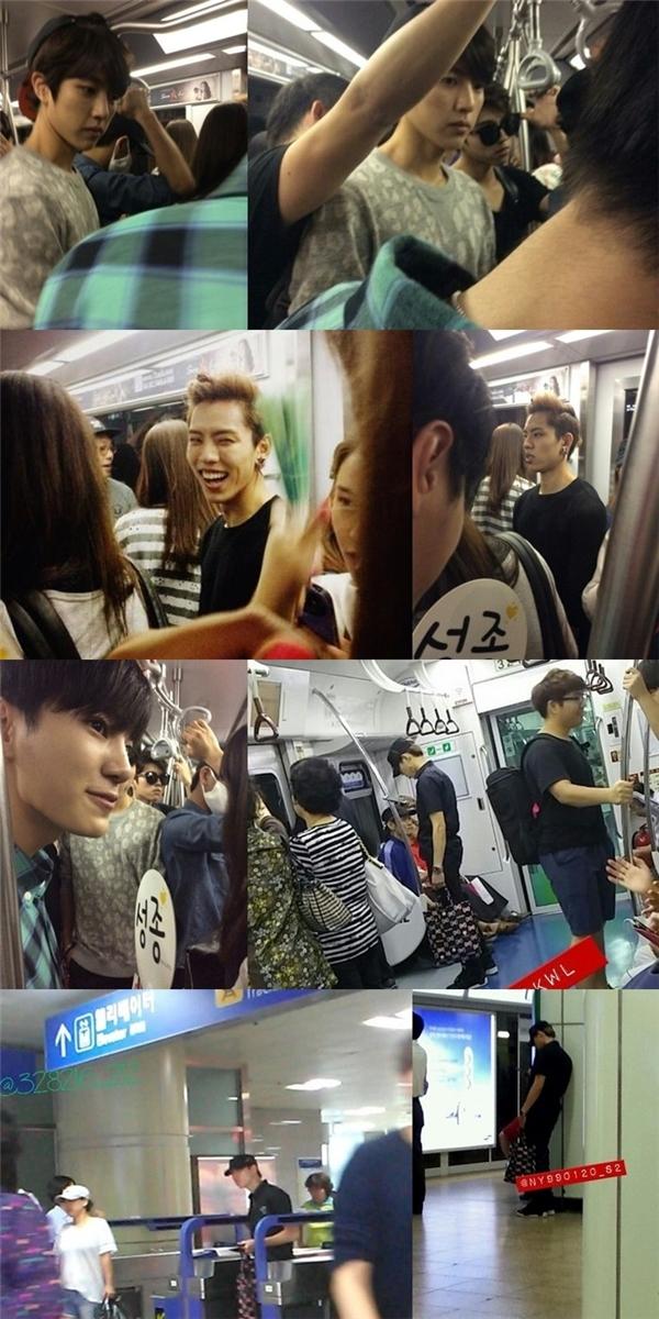 """Có vẻ như các thành viên Infinite rất chuộng sử dụng phương tiện công cộng. Thậm chí, họ còn được mọi người dành tặng biệt danh """"thần tượng tàu điện ngầm"""" cho thói quen thân thiện này."""