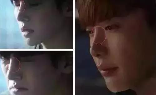 Ngay cả khi nhăn mặt, phần mũi của Ji Chang Wook vẫn thiếu tự nhiên. Bên cạnh đó còn có tài tử Lee Jong Suk.