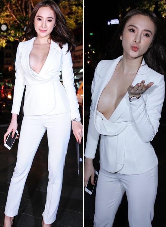 """Khi mĩ nhân Việt """"khốn khổ"""" vì váy áo xẻ bạo phần ngực"""