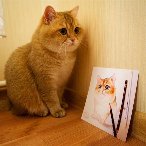 Em đứng yên cho người vẽ nhé, nhưng tí nhớ cho em ăn nhiều vào!
