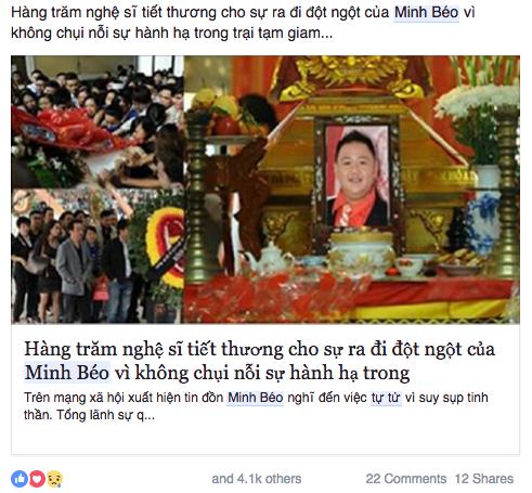 """Người này chia sẻ một đường link cùng lời bình luận: """"Hàng trăm nghệ sĩtiếc thương cho sự ra đi đột ngột của Minh Béo vì không chịu nổi sự hành hạ trong trại giam…"""". - Tin sao Viet - Tin tuc sao Viet - Scandal sao Viet - Tin tuc cua Sao - Tin cua Sao"""