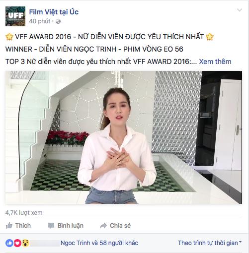 Thông tin Ngọc Trinh đoạt giải Nữ diễn viên chính được yêu thích được đăng tải trên trang fanpage của chương trình. - Tin sao Viet - Tin tuc sao Viet - Scandal sao Viet - Tin tuc cua Sao - Tin cua Sao