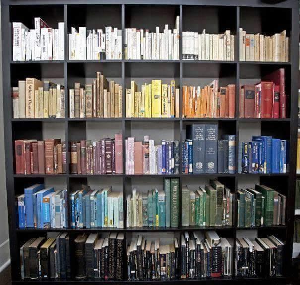 Sách được sắp xếp theo sắc độ đậm nhạt của màu - một ý tưởng hay ho!(Ảnh: Internet)