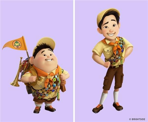 """Và cuối cùng, bất ngờ chưa, Russell - cậu nhóc hướng đạo sinh béo núc ních trong phim hoạt hình Up- đã """"hot"""" thế này rồi đấy ư? (Ảnh: Bright Side)"""