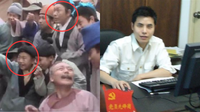 Con trai ông từng theo cha làm phim khi mới 13 tuổi (ảnh trái) dù chỉ đảm nhận vai phụ. Hiện, anh là doanh nhân có tiếng tại Trung Quốc. Ảnh: 163.