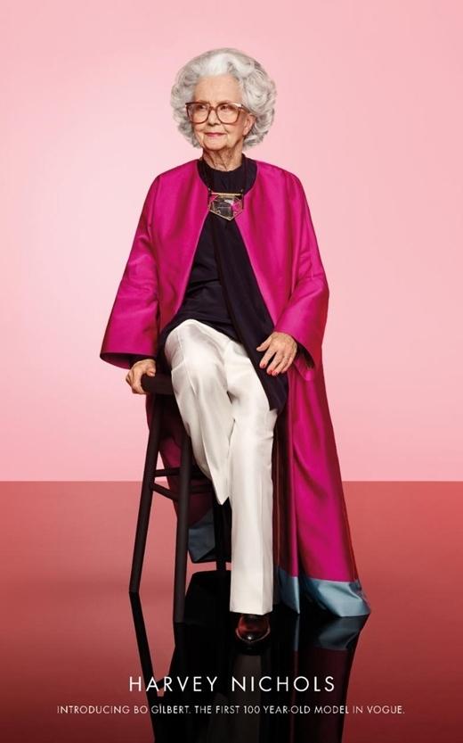 Bà Bo Gilbert được chọn là một trong những người mẫu đặc biệt xuất hiện trên ấn phẩm kỉ niệm 100 tuổi của tạp chí Vogue Anh.