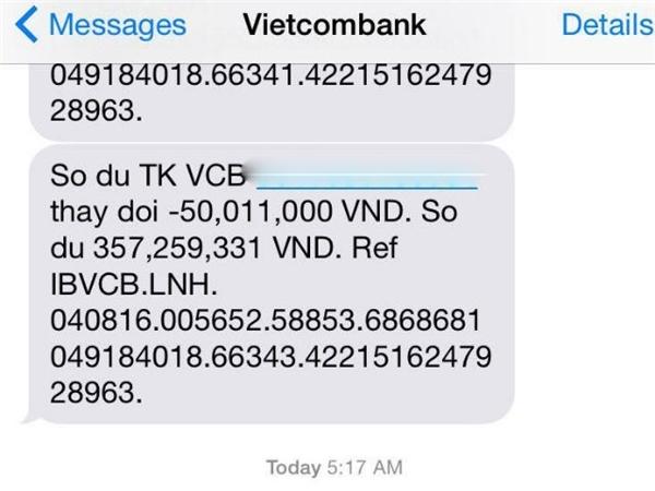 """Điện thoại và email của chị Hương lần lượt báo về số tiền lớn """"bốc hơi"""". (Ảnh: internet)"""