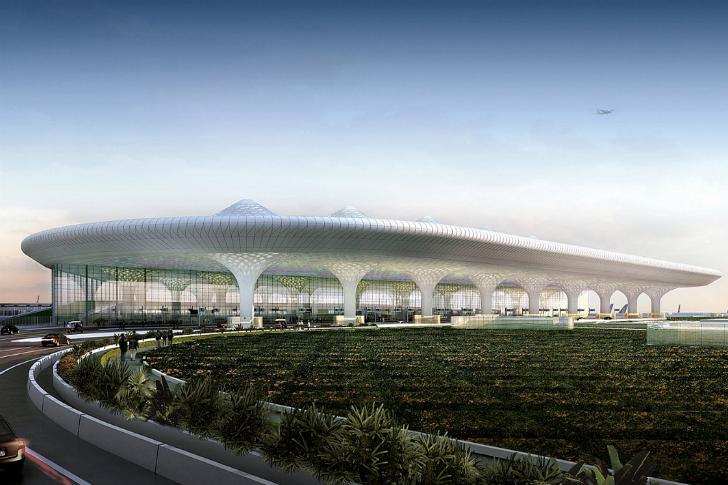 Sân bay quốc tếChhatrapati Shivaji ở Mumbai, Ấn Độlấy cảm hứng từ truyền thống địa phương, kiến trúc bản địa và nghệ thuật khu vực.Sân bay này vận chuyển hơn 40 triệu lượt khách mỗi năm.