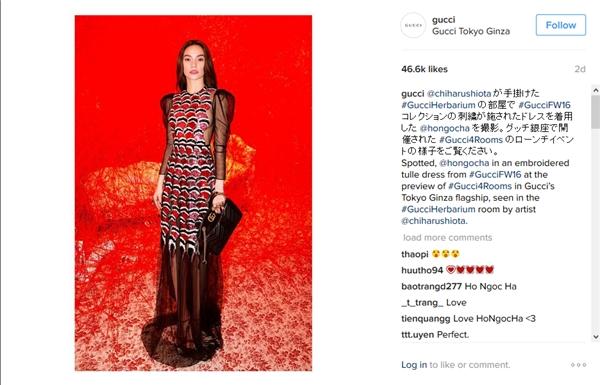 Sau buổi tiếp xúc và chụp hình thời trang, hình ảnh Hồ Ngọc Hà đã được cập nhật trên tài khoản Instagram của hãng Gucci. Hình ảnh được đăng tải đã tạo nên hiệu ứng lan tỏa rộng lớn, trong vòng 1 giờ đã có hơn 25 nghìn lượt yêu thích, nhiều ý kiến bình luận bất ngờ và khen ngợi khi biết Hồ Ngọc Hà là một nghệ sỹ Việt Nam.