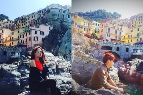 Cả hai thường xuyên đi du lịch nước ngoài cùng nhau vàđều ghi lại khoảnh khắc tại một địa điểm như Vạn lý trường thành (Trung Quốc,làng chài Cineque Terre (Italy),quảng trường Old Town tại CH Séc. - Tin sao Viet - Tin tuc sao Viet - Scandal sao Viet - Tin tuc cua Sao - Tin cua Sao