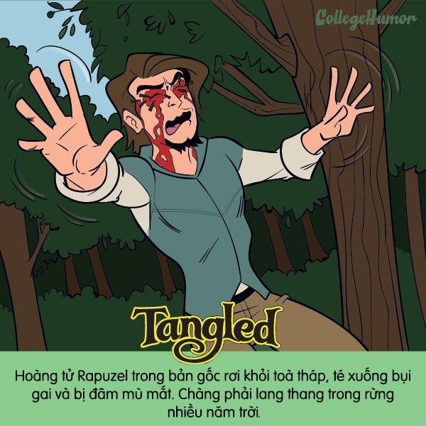 Công chúa tóc dài trong Tangled sẽ không bao giờ gặp lại tình yêu của mình nữa vì chàng đã... mù lòa và lạc trong rừng mất rồi.