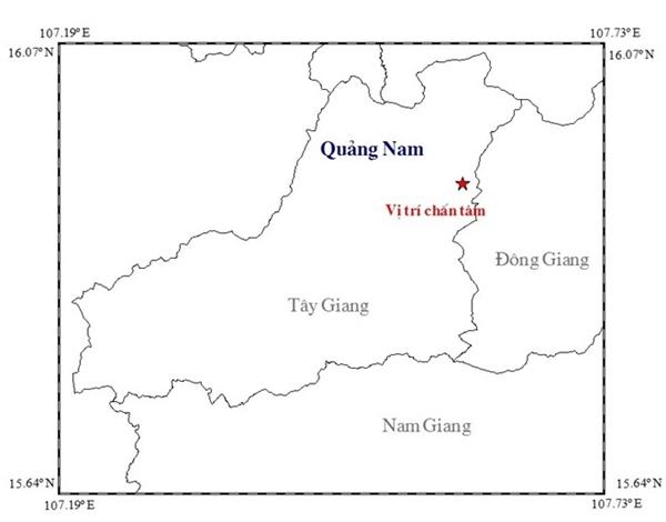 Vị trí xảy ra hai trận động đất liên tiếp ngày hôm qua.