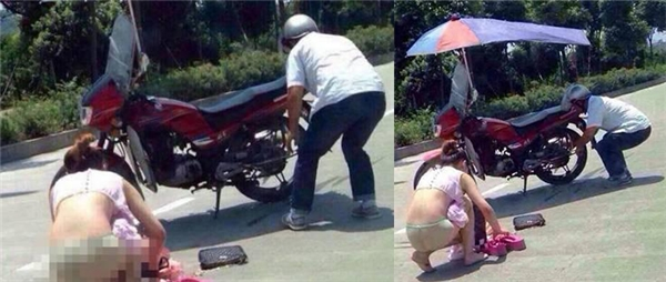 """Cô gái bất ngờ """"khoe thân"""" giữa đường vì chiếc váy dính vào căm xe."""