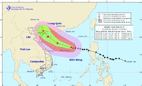 BãoSarika đang hướng thẳng đến miền Bắc Việt Nam. (Ảnh: TTDBKTTV Trung ương)