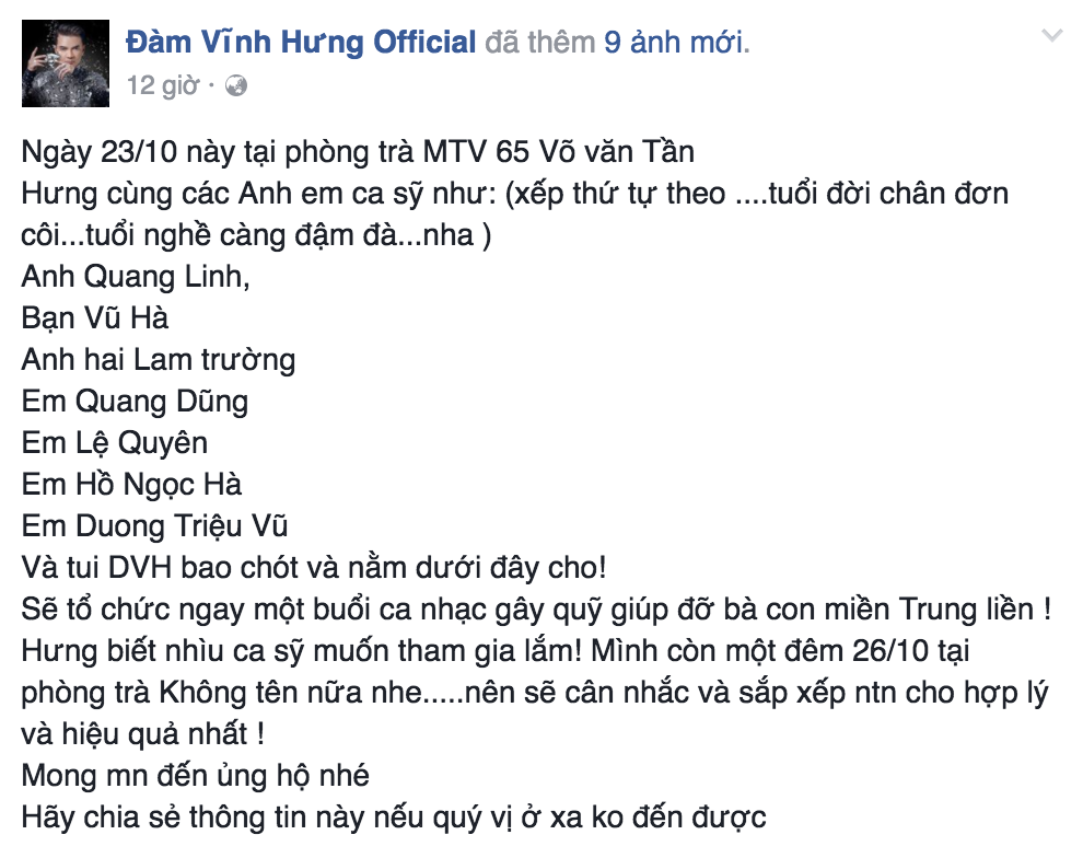 """Vẫn như """"thường lệ"""", Mr Đàm tiếp tục tổ chức đêm nhạc cùng nhiều đồng nghiệp kêu gọi giúp đỡ đồng bào gặp thiên tai - Tin sao Viet - Tin tuc sao Viet - Scandal sao Viet - Tin tuc cua Sao - Tin cua Sao"""