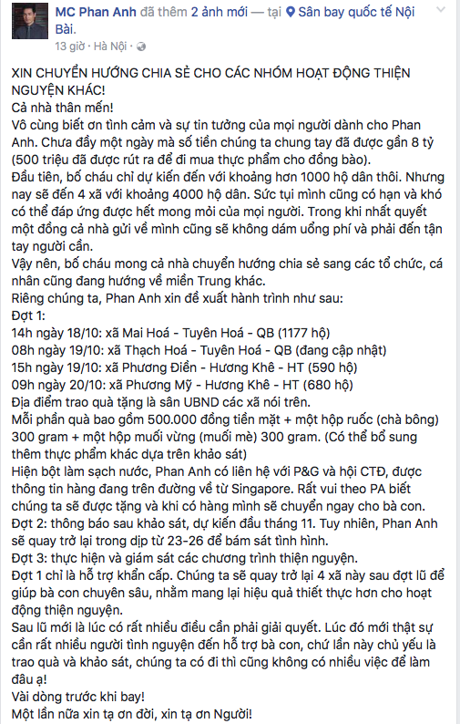 MC Phan Anh cùng bạn bè lên đường bay ra Đà Nẵng để thực hiện hành trình cứu trợ đồng bào miền Trung đang gặp khó khăn do hậu quả của bão lũ. - Tin sao Viet - Tin tuc sao Viet - Scandal sao Viet - Tin tuc cua Sao - Tin cua Sao