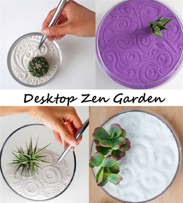 Vườn cây mini: Bạn vừa có cây xanh trên bàn làm việc của mình, vừa có thứ để giải trí bằng cách dùng bút vẽ trên cát.
