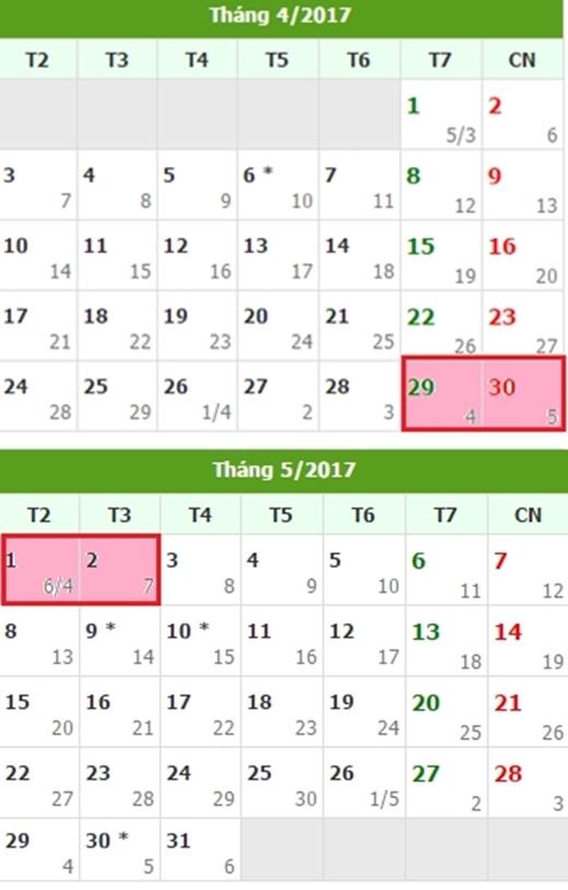 Lịch nghỉ ngày Quốc tế Lao động 1/5/2017.