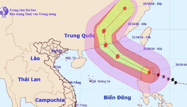 Bão Haima mạnh tương đương siêu bão Haiyan năm 2013. (Ảnh: KTTV)