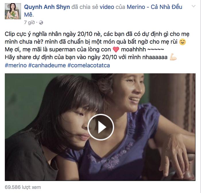 Hotgirl, diễn viên Quỳnh Anh Shyn cũng đã chuẩn bị quà tặng mẹ sau khi xem đoạn clip này.