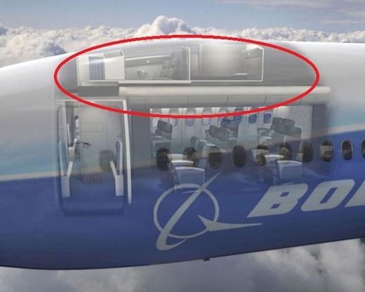 Nơi ngủ của các tiếp viên hàng không là bêntrên cùng của máy bay.