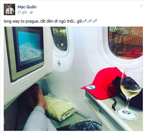 Ngay liền sau đó, anh tiếp tục cập nhật tình hình mới khi đang nằm trên máy bay đến Prague, CH Czech. - Tin sao Viet - Tin tuc sao Viet - Scandal sao Viet - Tin tuc cua Sao - Tin cua Sao