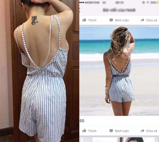 Một bộ trang phục khác mà cô gái này đặt mua cũng kém xa hình ảnh bởi sự nhàu nhĩ của vải cùng những đường cắt may kém tinh tế.