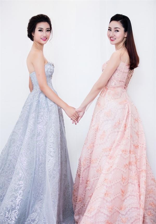Á hậu Ngô Trà My tái xuất bên cạnh Hoa hậu Việt Nam 2016 Đỗ Mỹ Linh với chiếc váy cưới bồng xòe màu hồng ngọt ngào.