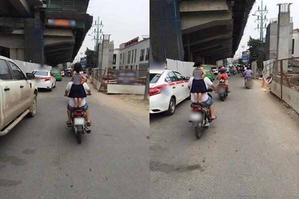 Ông bố này thản nhiên cho con gái đứng trên yên xe khiến dân mạng phẫn nộ.